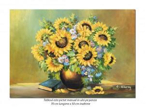 Vaza cu floarea soarelui si carte - 70x50cm ulei pe panza, Magnific