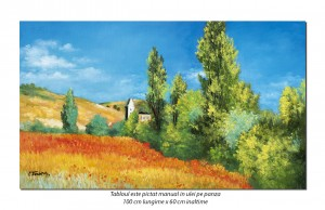 Peisaj din Vetheuil - 100x60cm ulei pe panza, reproducere Claude Monet