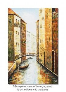 Canal venetian, stilizat - 90x60cm ulei pe panza in cutit efect 3D, Superb!