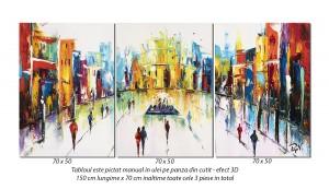 Tablou living, office - Peisaj citadin modern - 150x70cm, 3 piese ulei cutit panza in, efect 3D, Magnific!