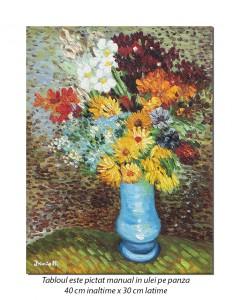 Flori in vaza albastră - 40x30cm ulei pe panza, repro Vincent van Gogh, Magistral!