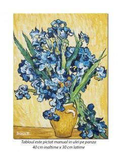 Carafa cu irisi - 40x30cm ulei pe panza, repro Vincent van Gogh, Magistral!