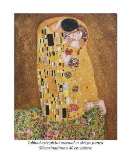 The Kiss - Sarutul - ulei pe panza 50x40cm - repro Gustav Klimt, Magistral (1)