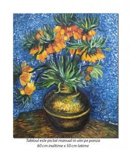 Flori in vaza de cupru - 60x50cm ulei pe panza, Repro van Gogh - Magistral!