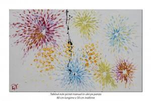 Tablou modern - Flori stilizate - 80x50cm ulei pe panza in cutit efect 3D, Spectaculos!