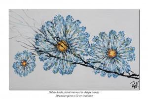 Tablou modern - Margarete stilizate - 80x50cm ulei pe panza in cutit efect 3D, Spectaculos!