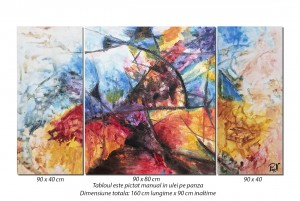 Tablou abstract 3 piese - Cosmos - 160x90cm ulei pe panza efect 3D - Spectaculos!