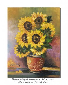 Vaza cu floarea soarelui - pictura ulei pe panza 40x30cm, Superb@
