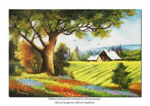 Tablou GIGANT living - Pe-un picior de plai, pe-o gura de rai (1) - 120x80cm pictura ulei pe panza, Fabulos!