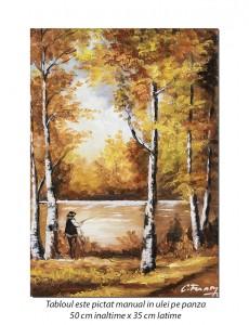 Pescarul norocos (2) - 50x35cm pictura ulei pe panza, Magistral!