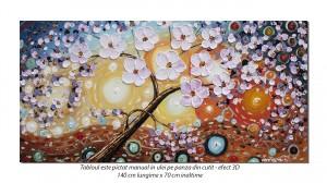 Tablou GIGANT living, dormitor - Primavara in casa ta (4) - 140x70cm ulei pe panza in relief, efect 3D, Magnific!