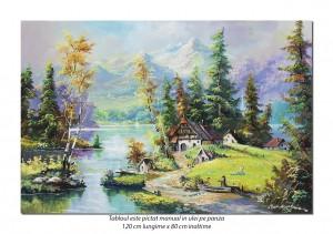 Tablou GIGANT living, dormitor - Maretie, peisaj montan - 120x80cm pictura ulei pe panza, Fabulos!