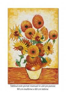 Vaza cu floarea soarelui - 90x60cm ulei pe panza, repro Vincent van Gogh, Magistral!