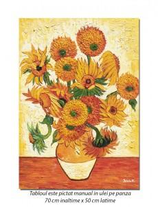 Vaza cu floarea soarelui - 70x50cm ulei pe panza, repro Vincent van Gogh, Magistral! (2