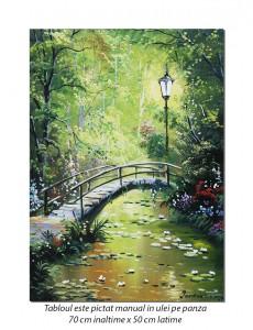 Podul japonez - 70x50cm pictat manual ulei pe panza, repro Claude Monet