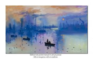 Impression: The Sunrise (1) - 100x60cm ulei pe panza, repro Claude Monet, Superb!