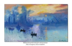 Impression: The Sunrise (3) - 100x60cm ulei pe panza, repro Claude Monet, Superb!