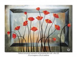 Pictura moderna cu maci - 70x50cm ulei pe panza, Superb!