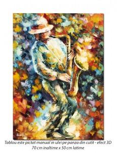 Saxofonistul, stilizat - 70x50cm pictura ulei pe panza in cutit efect 3D, Magnific!