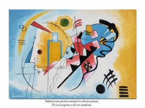 Tablou abstract - Yellow-Red-Blue - 70x50cm ulei pe panza, reproducere Wassily Kandinsky