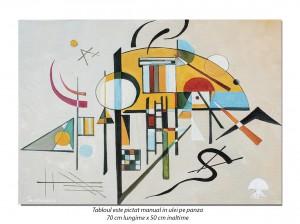 Tablou abstract - Compozitie geometrica - 70x50cm ulei pe panza, reproducere Wassily Kandinsky