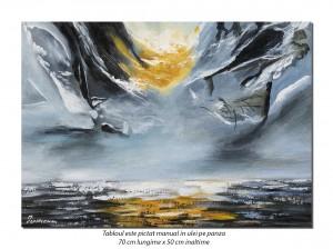 Calatorie in spatiu (3) - 70x50cm tablou abstract ulei pe panza, Spectaculos!