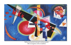 Tablou abstract - In blue - 100x60cm ulei pe panza, reproducere Wassily Kandinsky