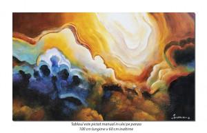 Conexiuni astrale (3) - 100x60cm tablou abstract ulei pe panza, Spectaculos!