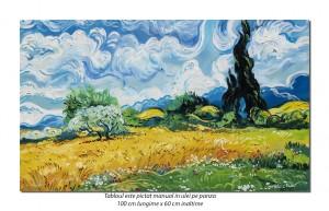Camp cu grau si chiparosi (2) - 100x60cm ulei pe panza, repro Vincent van Gogh, Magistral!