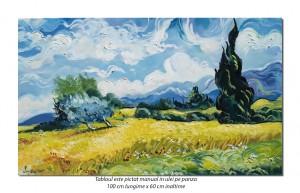 Camp cu grau si chiparosi (1) - 100x60cm ulei pe panza, repro Vincent van Gogh, Magistral!