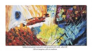 Tablou living, birou - Compozitie abstracta (1) - 120x60cm ulei pe panza, Spectaculos!