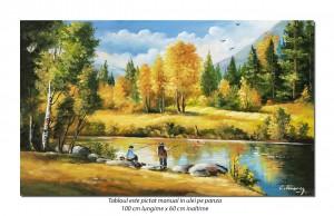 Pescarii norocosi - tablou peisaj 100x60cm ulei pe panza, Fabulos!