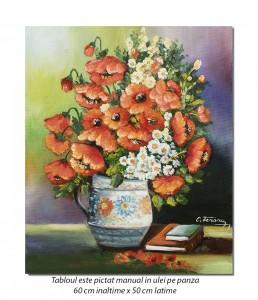 Eleganta in rosu, maci imperiali - 60x50cm pictura ulei pe panza, Magnific!