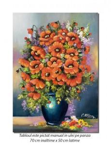 Vaza cu maci imperiali - 70x50cm pictura ulei pe panza, Fabulos!