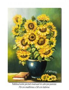 Tablou living, dormitor - Vaza cu floarea soarelui si carte - 70x50cm ulei pe panza, rafinat!