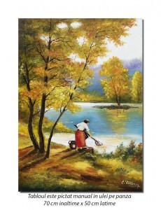 Țărăncuță la râu - 70x50cm pictura ulei pe panza, Magnific
