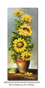 Vaza cu floarea soarelui si carte - 60x25cm ulei pe panza, Magistral