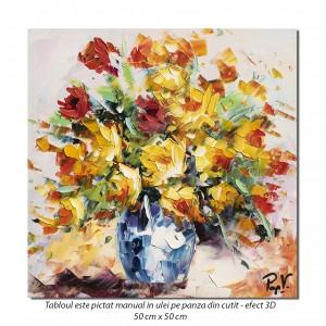 Bucurie florala, stilizat - 50x50cm ulei in cutit efect 3D, Magistral!
