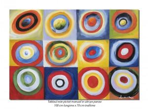 Cercuri concentrice - 100x70cm ulei pe panza, reproducere Wassily Kandinsky