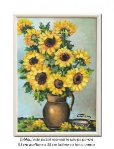 Carafa cu floarea soarelui - 53x38cm ulei pe panza, Superb!