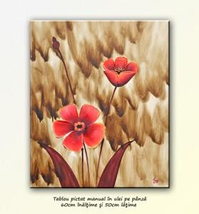 poza Flori deco (7) - pictura cu maci in relief, ulei pe panza, 50x60cm