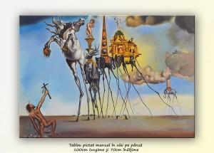 poza Ispitirea Sfântului Anton, repro Salvador Dali, pictură ulei pe pânză 100x70cm