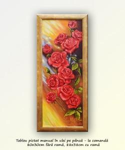 poza Tablou trandafiri - Raza de soare - 80x30cm inramat - la comanda