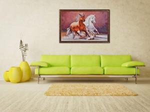 Poza Cai in galop - ulei pe panza 150x100cm - tablou la comanda. Poza 64776