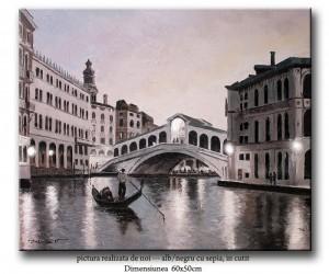 poza Pictura Venetia - podul Rialto, ulei pe panza in cutit 60x50cm - la comanda