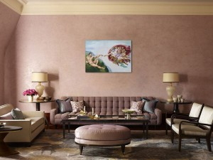 Poza Tablou pictat manual in ulei pe panza,  Crearea lui Adam (100x70cm) - Capela Sixtina - Michelangelo. Poza 68604