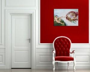 Poza Tablou pictat manual in ulei pe panza,  Crearea lui Adam (100x70cm) - Capela Sixtina - Michelangelo. Poza 68605