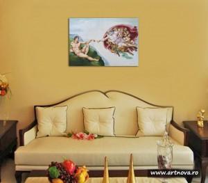 Poza Tablou pictat manual in ulei pe panza,  Crearea lui Adam (100x70cm) - Capela Sixtina - Michelangelo. Poza 68607