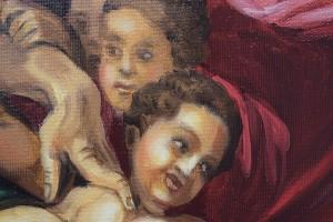 Poza Tablou pictat manual in ulei pe panza,  Crearea lui Adam (100x70cm) - Capela Sixtina - Michelangelo. Poza 68611