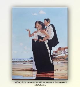 poza The Missing Man II - tablou pictat manual ulei pe panza - repro Jack Vettriano, 100x76cm